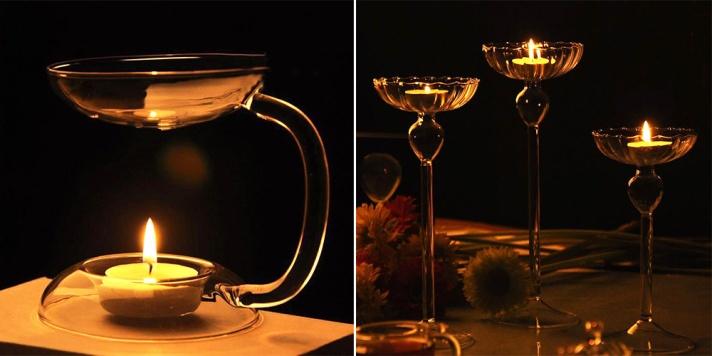 Transparent Glass Aroma Candlestick